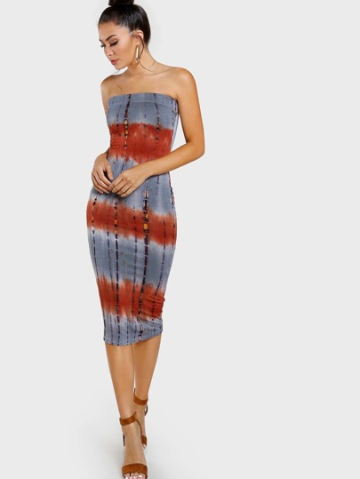 Strapless Fitted Tie Dye Print Dress GREY RUST