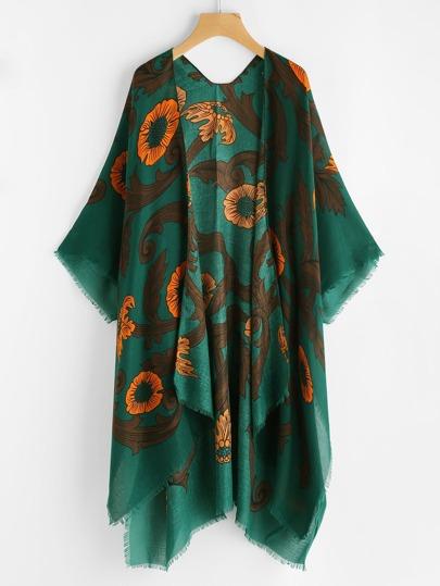 Kimono découpé lacéré imprimé de la jungle