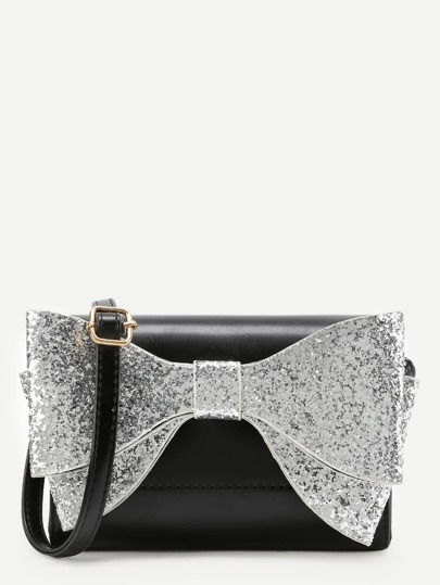 Glitter Bow Tie Front Flap Crossbody Bag