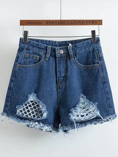 Contrast Mesh Ripped Denim Shorts