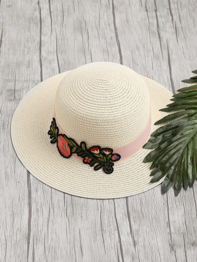 Embroidery Flower Applique Straw Hat