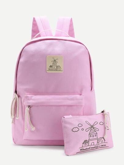 Contrast Patch Canvas Backpack With Clutch