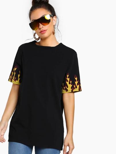 Flame Print Tunic Dress BLACK