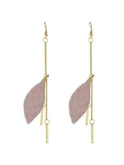 Pink Color Feather Spike Pendant Long Earrings