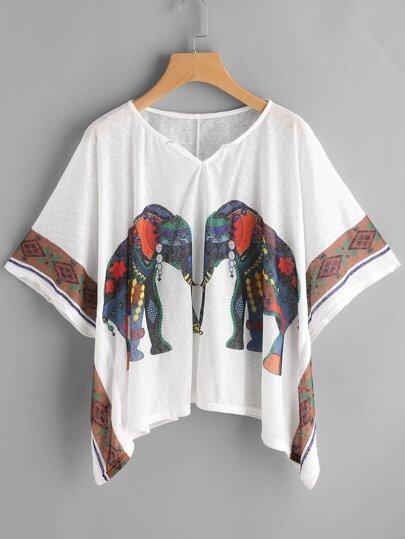 Blouse imprimée des éléphants manche de Kimono