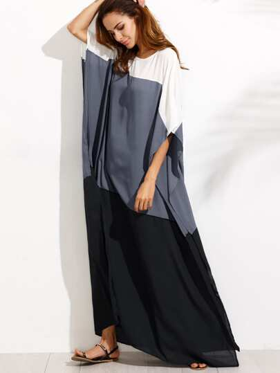 Color Block Slit Side Chiffon Poncho Dress