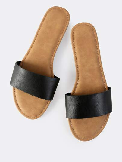 Classic Leather Slip On Sandals BLACK