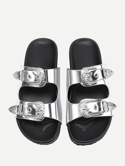 PU Sandalen mit doppel Schnallen Design