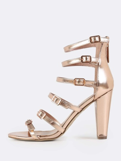 Multi Buckle Strap Metallic Heels ROSE GOLD