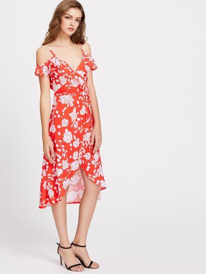 Cold Shoulder Floral Print Frill Trim Self Tie Dress