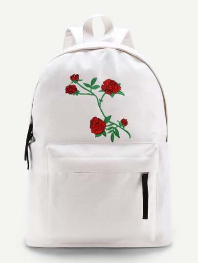 Rucksack mit Blumenstickereien,Reißverschluss vorne und Segeltuch