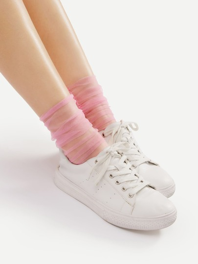 Mesh Side Seam Ankle Socks