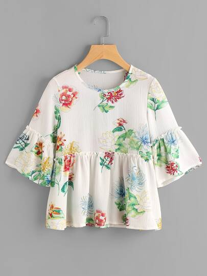 Frill Trim Bell Sleeve Florals Smock Blouse