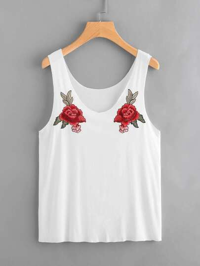 Symmetric Rose Patch Raw Edge Tank Top