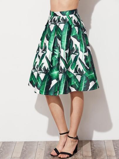 Falda plisada con estampado y vuelo