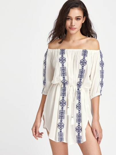 Graphic Print Off The Shoulder Drawstring Waist Cover Up Dress