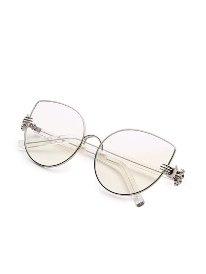Faux Pearl Detail Cat Eye Glasses