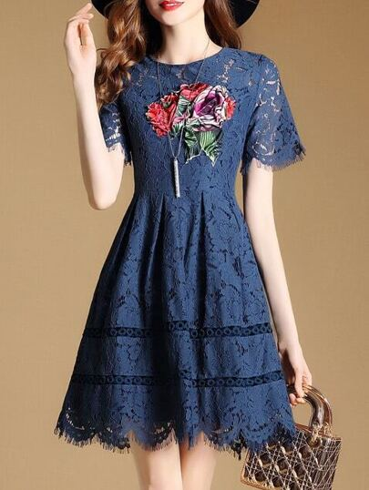 Flowers Applique Pouf Fringe Lace Dress