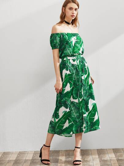 Palm Leaf Print Bardot Dress
