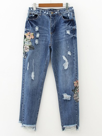 Ripped Frayed Hem Embroidery Jeans