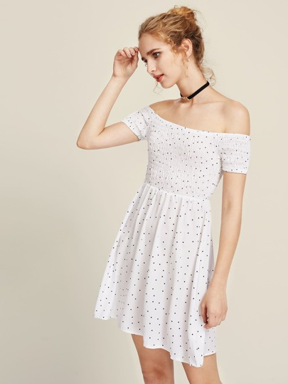 Bardot Polka Dot Smock Dress