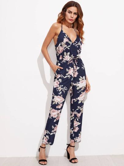 Wrap V Neckline Floral Print Crisscross Drawstring Jumpsuit