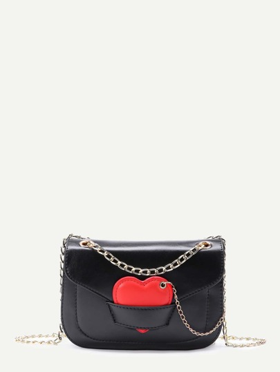 Contrast Heart Detail Crossbody Chain Bag