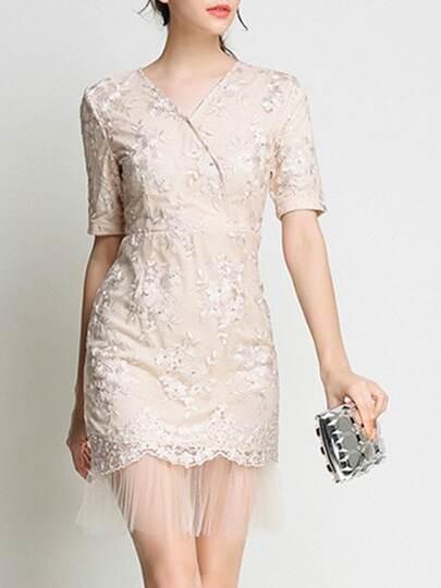 V Neck Embroidered Contrast Gauze Dress