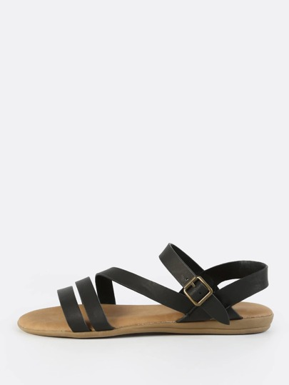 Open Toe Multi Band Sandals BLACK