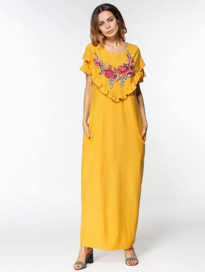 Maxi Kleid mit Stickereien, Applikation und Falten