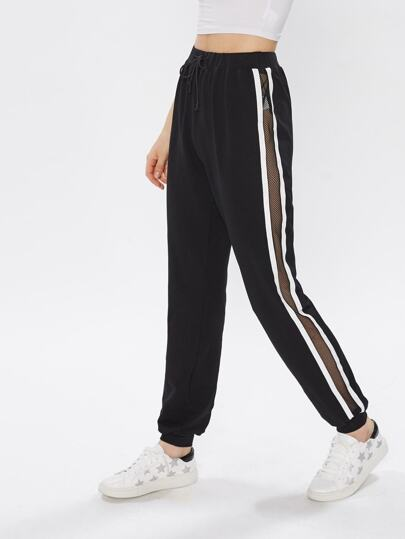 Fishnet Insert Striped Side Sweatpants