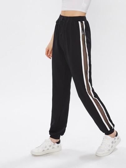 Pantalons à rayures à maille