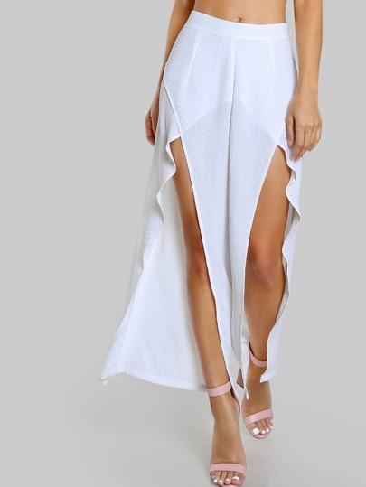 Front Slit Flowy Pants WHITE