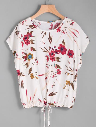 Florals Batwing Sleeve Tie Front Tee