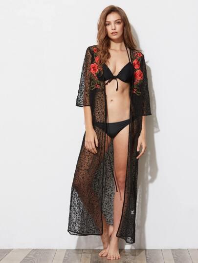 Kimono a rete con applique di fiore ricamato