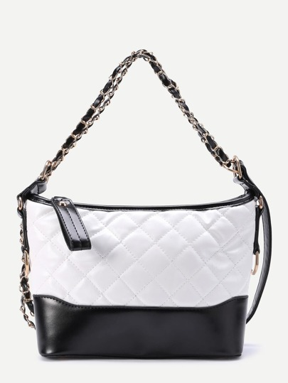 Two Tone Quilted PU Shoulder Bag