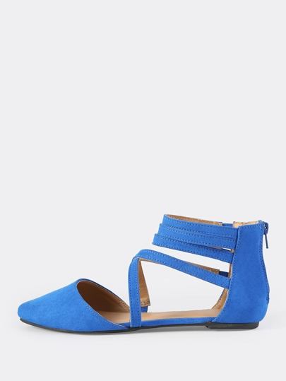 Faux Suede Closed Toe Flats BLUE