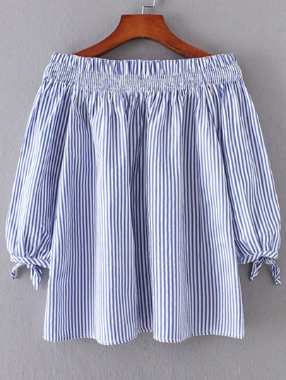 Vertical Striped Boat Neckline Tie Cuff Blouse