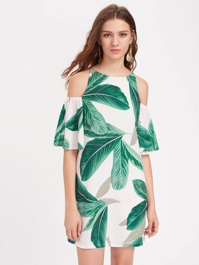 Palm Leaf Print Open Shoulder Bell Sleeve Dress