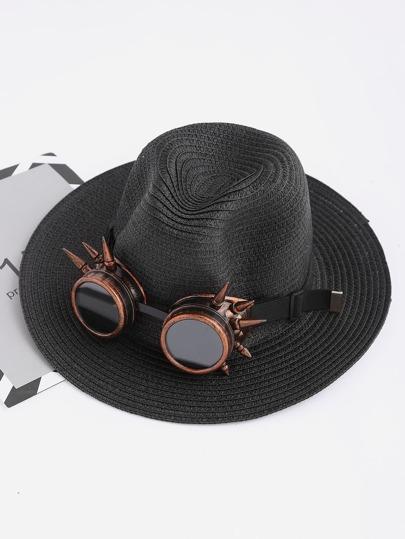 Stroh Fedora Hut mit Punk Sonnenbrillen