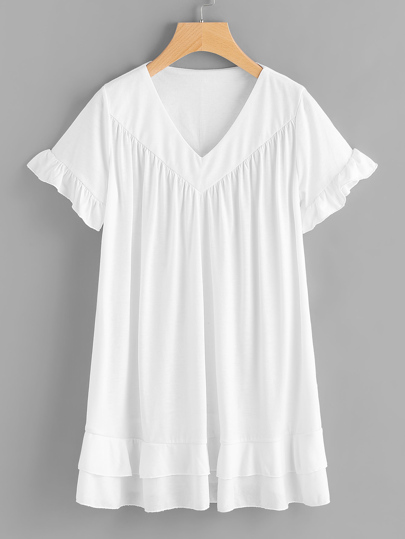 V-neckline Frill Trim Tee Dress