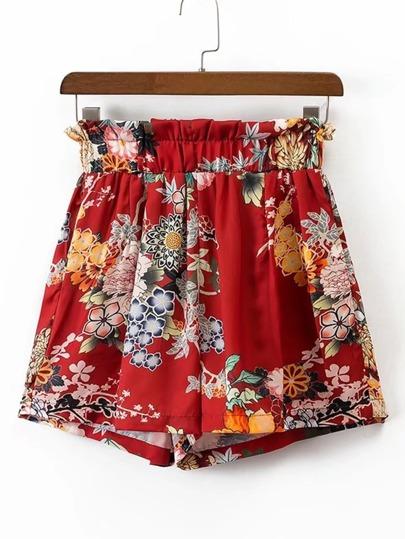 Shorts élastique imprimé des fleurs