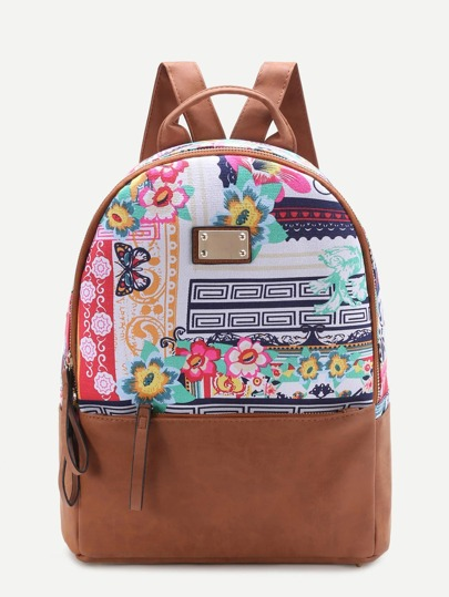 Calico Print Metal Detail Backpack