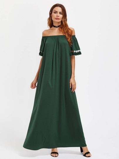 Elasticized Off Shoulder Tassel Trim Tent Dress