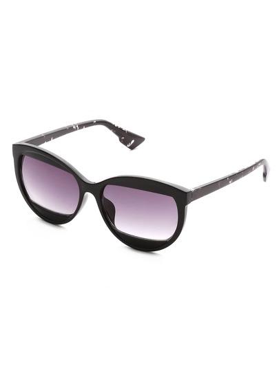 Contrast Frame Oblong Lens Sunglasses