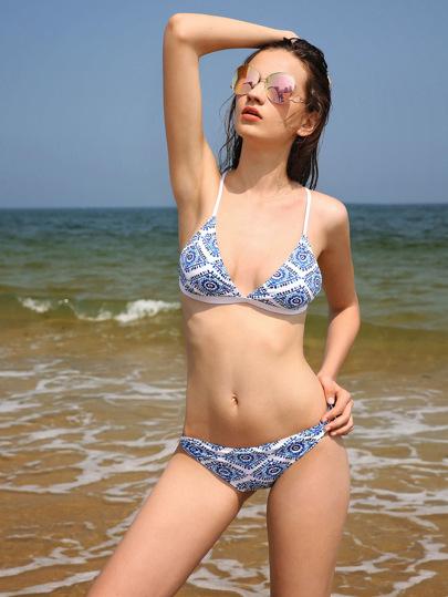 Set di bikini di triangolo con stampa grafica