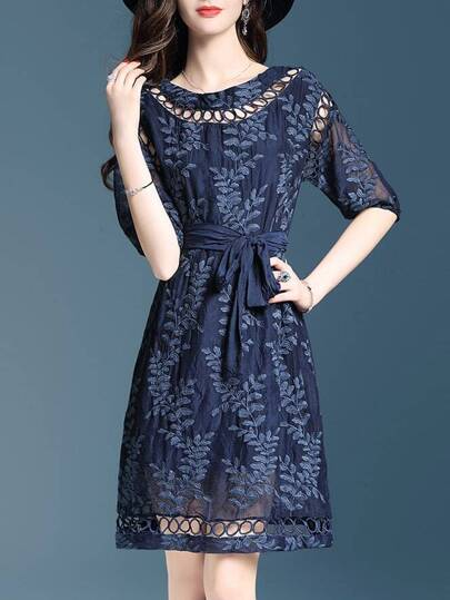 Flowers Embroidered Hollow Dress