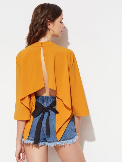 Bluse mit Kimonoärmeln und Schlitz hinten