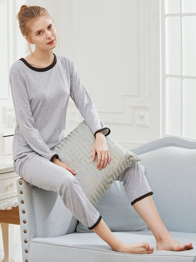 Contrast Binding Slub Long Pajama Set