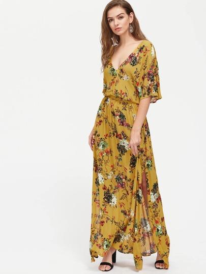Botanical Print Split Flutter Sleeve Blouson Dress